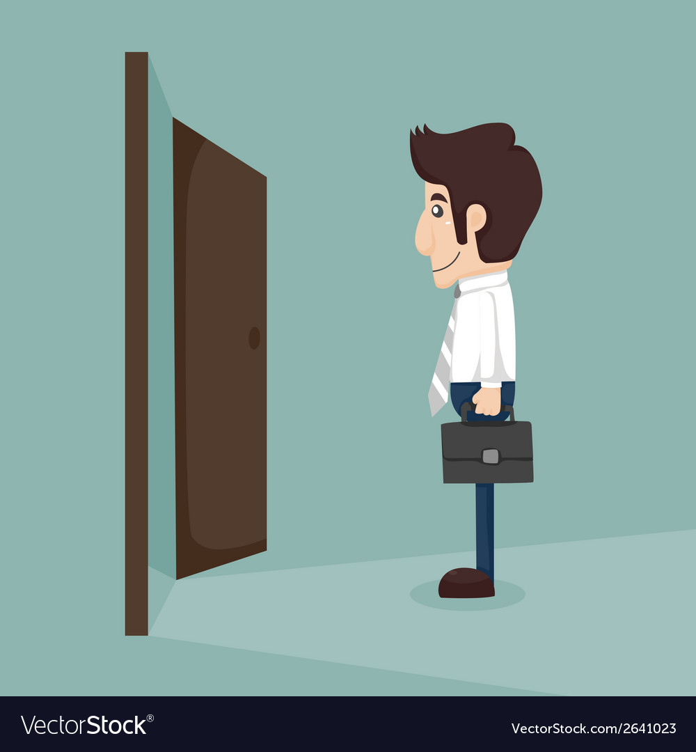 Businessman walking to opened door vector | Price: 1 Credit (USD $1)