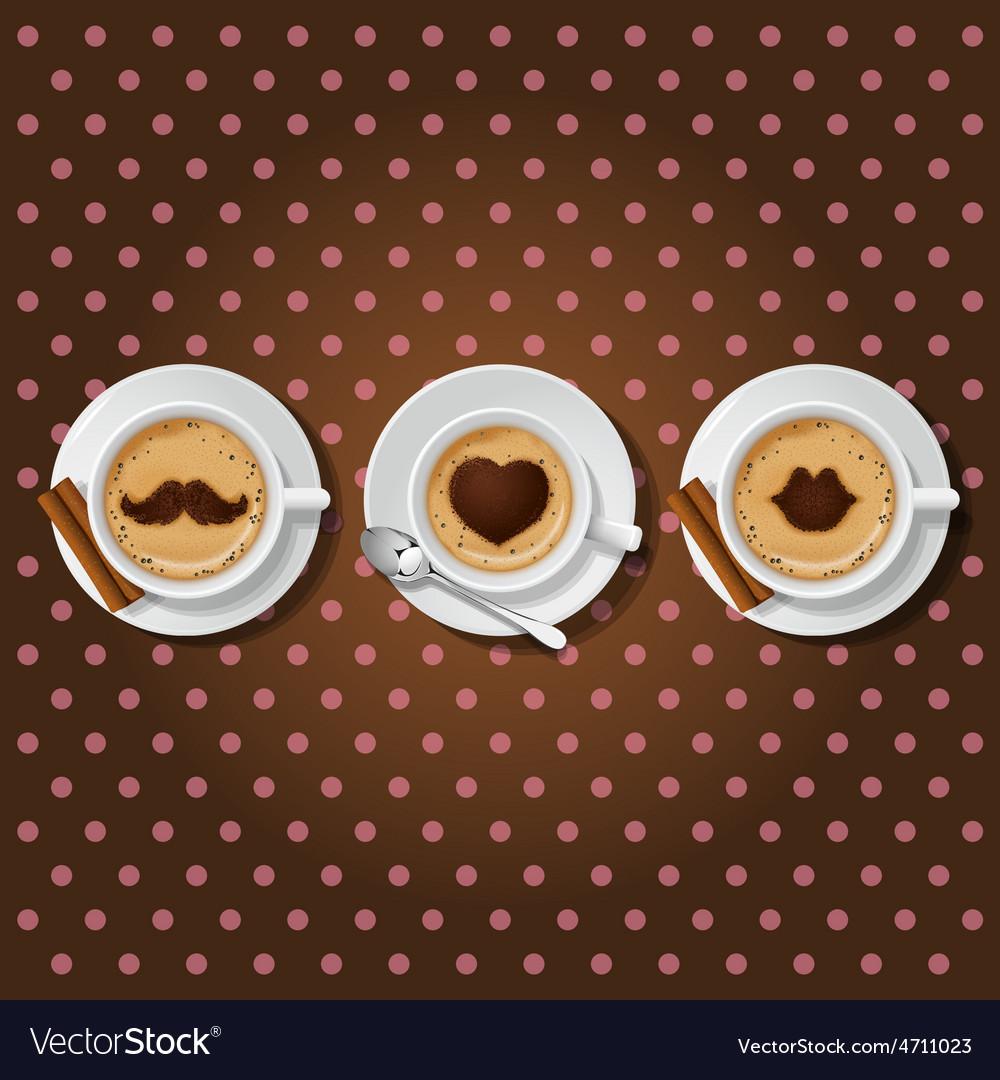 Cappuccino cups with male love female symbol vector | Price: 1 Credit (USD $1)