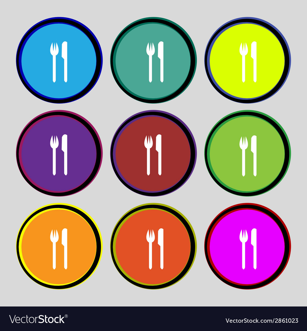 Eat sign icon cutlery symbol fork and knife set vector | Price: 1 Credit (USD $1)