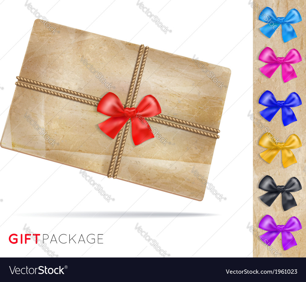 Gift package of old paper with a bow vector | Price: 1 Credit (USD $1)