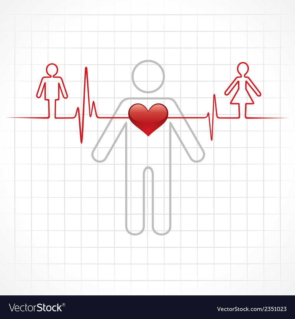 Heartbeat make a male and female symbol stock vec vector | Price: 1 Credit (USD $1)