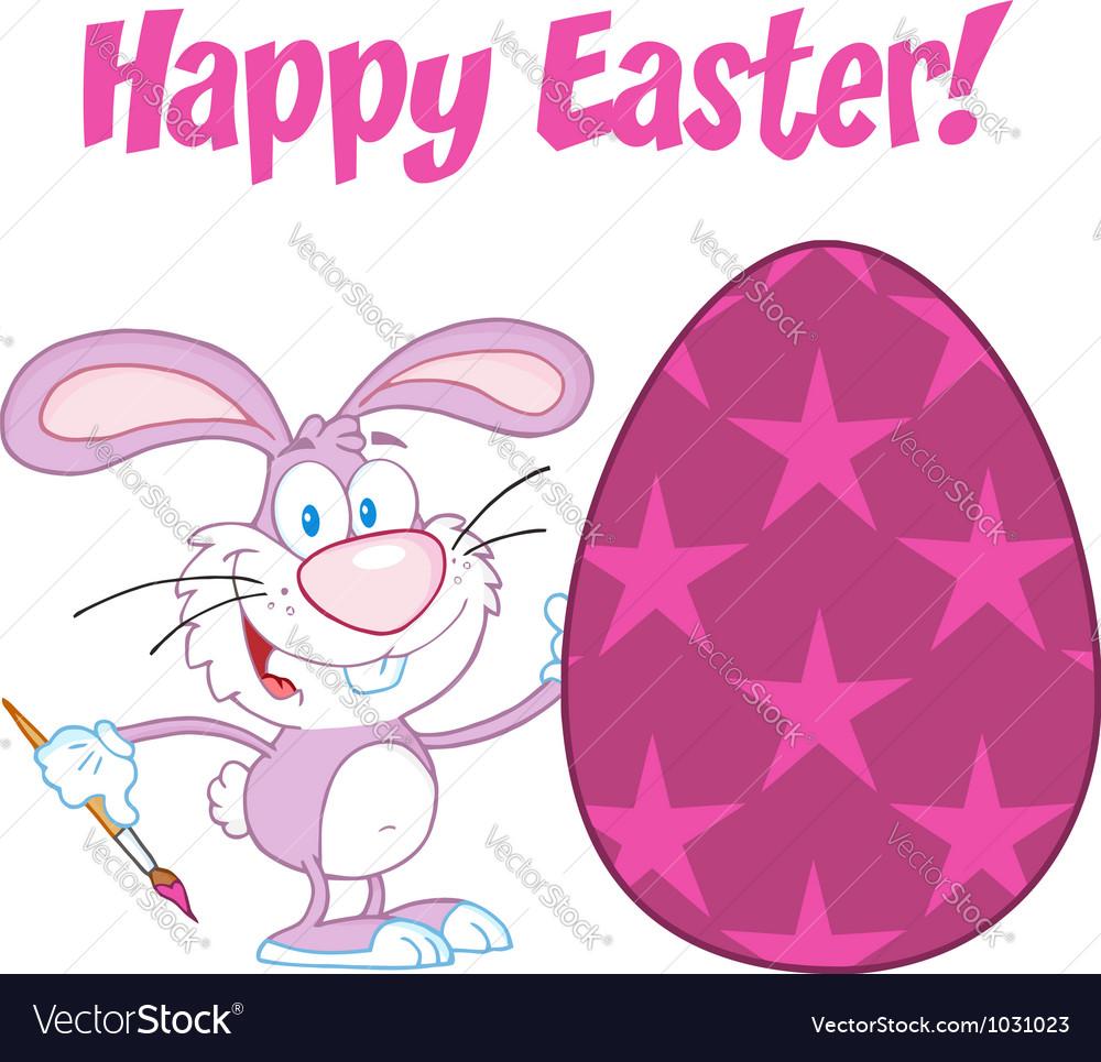 Purple happy easter bunny vector | Price: 1 Credit (USD $1)