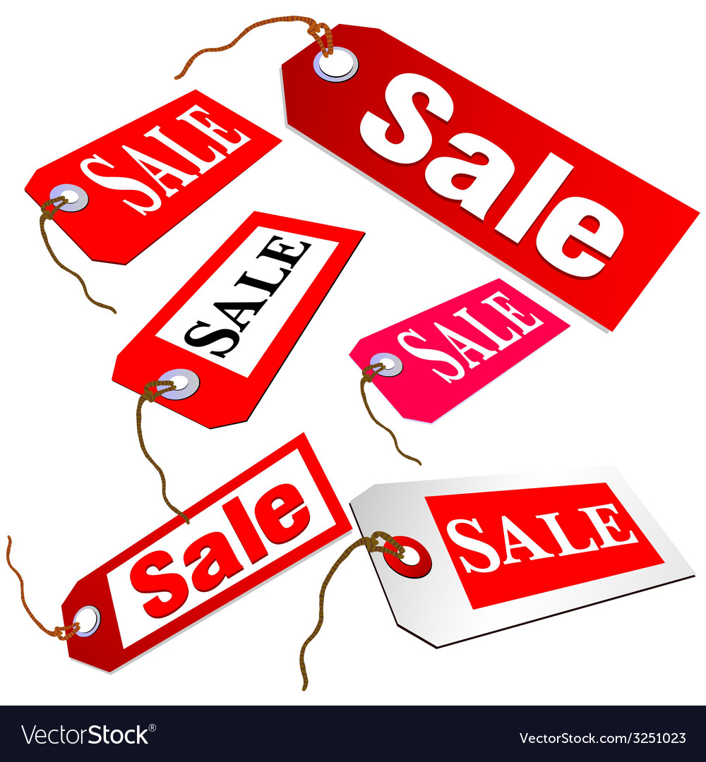 Sale ticket in red color vector | Price: 1 Credit (USD $1)