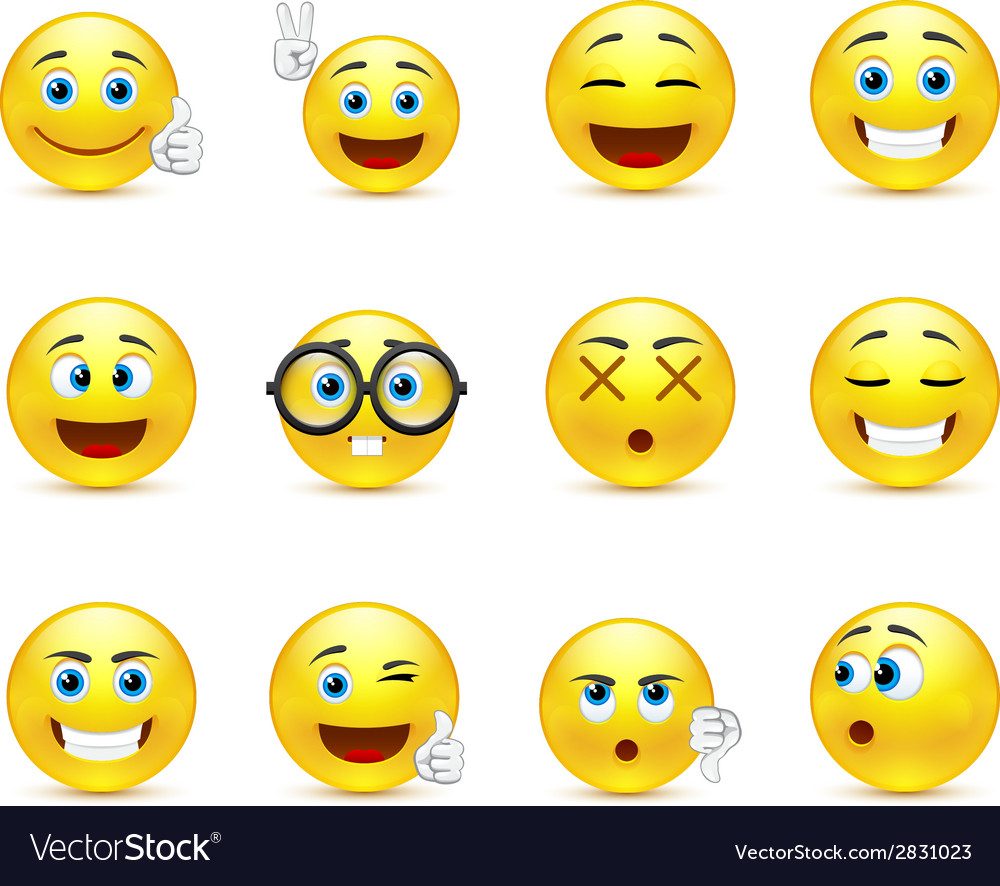 Smiley faces images expressing different emotions vector | Price: 1 Credit (USD $1)