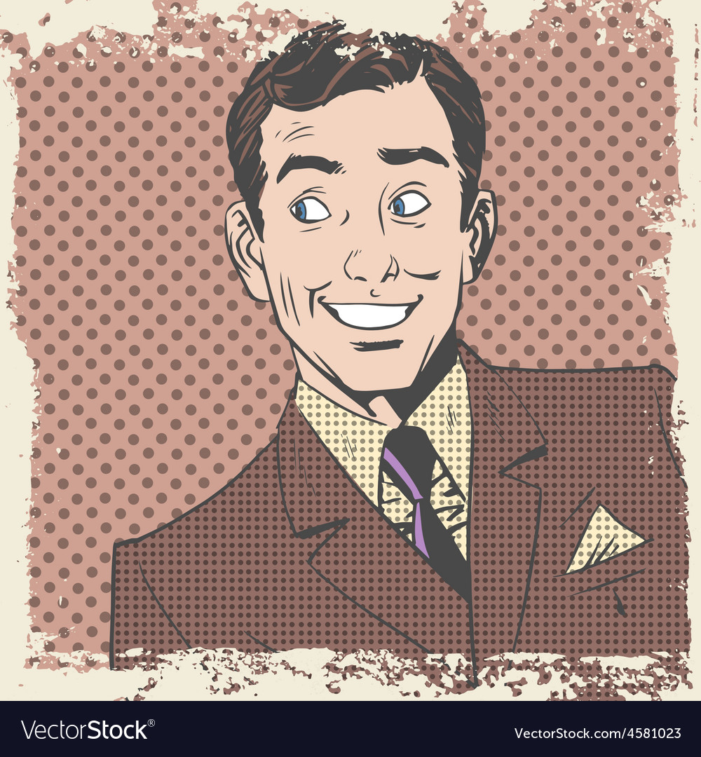 Smiling man lover flirts pop art comics retro vector | Price: 1 Credit (USD $1)