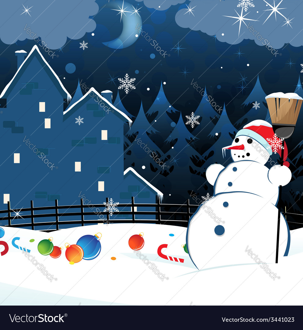 Snowman and scattered christmas decorations vector   Price: 3 Credit (USD $3)