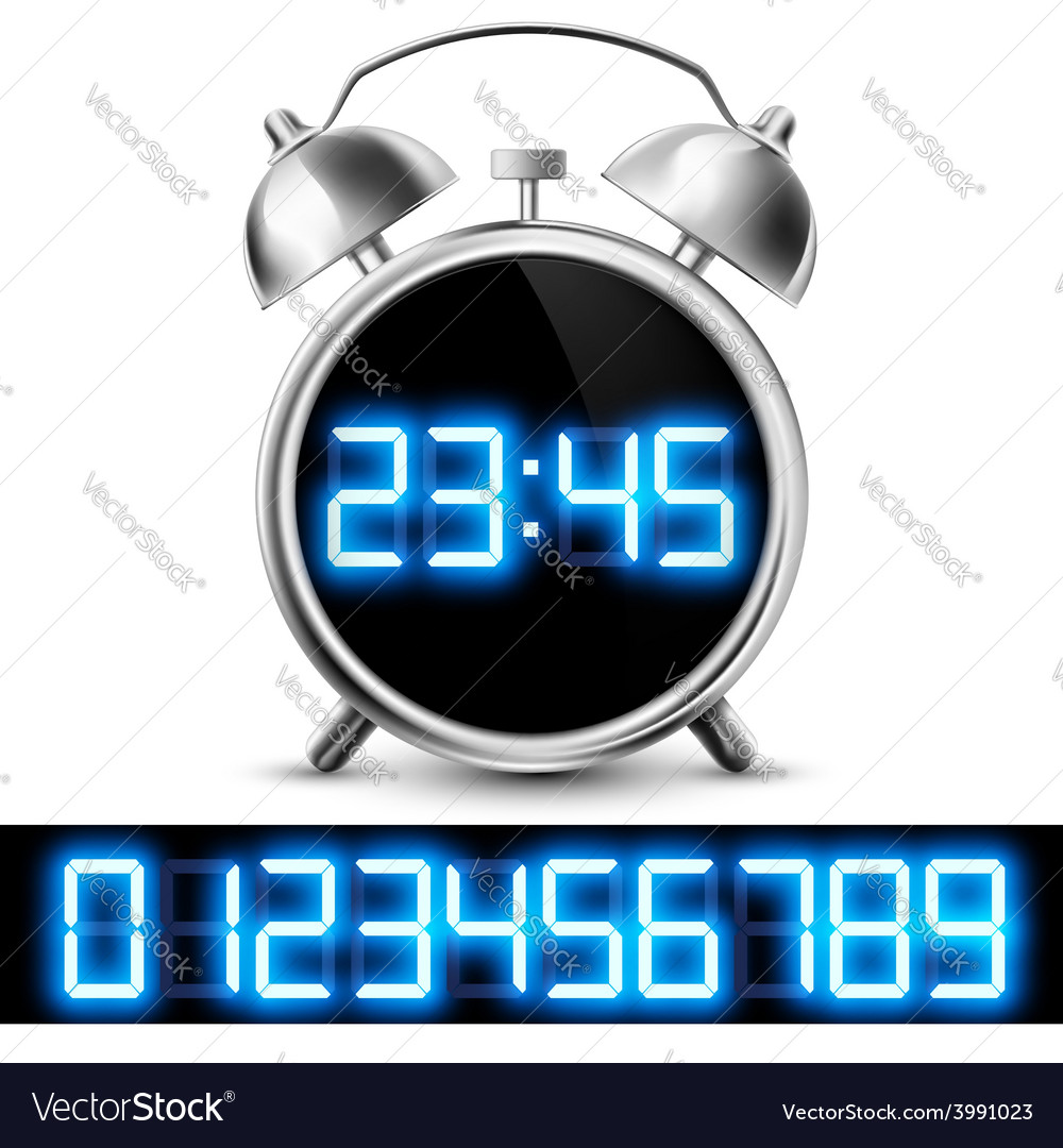 Table clock with digital display and a set of vector | Price: 1 Credit (USD $1)