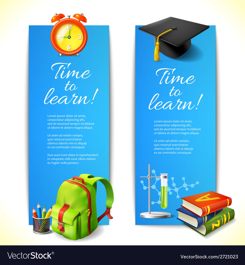 Time to learn vertical banners vector   Price: 1 Credit (USD $1)