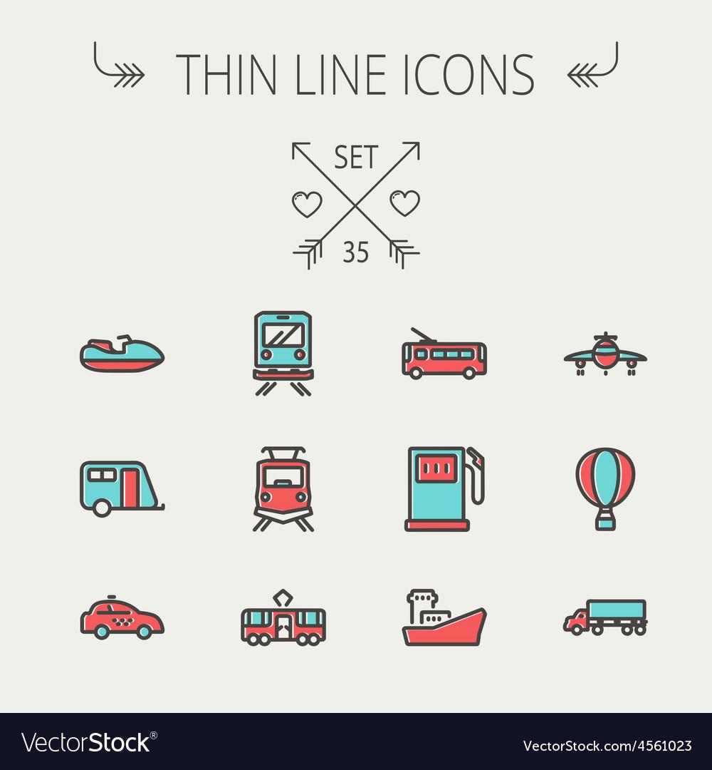 Transportation thin line icon set vector | Price: 1 Credit (USD $1)