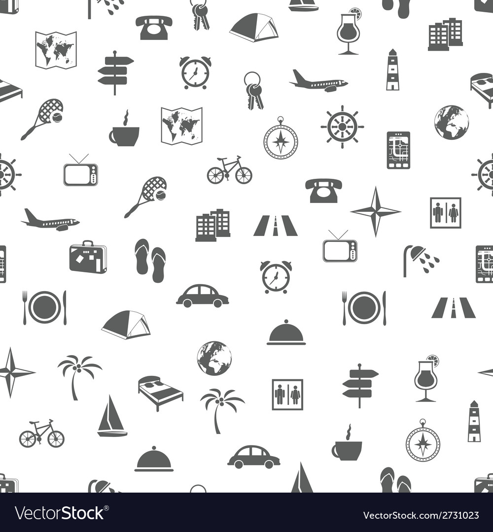 Travel and accommodation seamless pattern vector | Price: 1 Credit (USD $1)