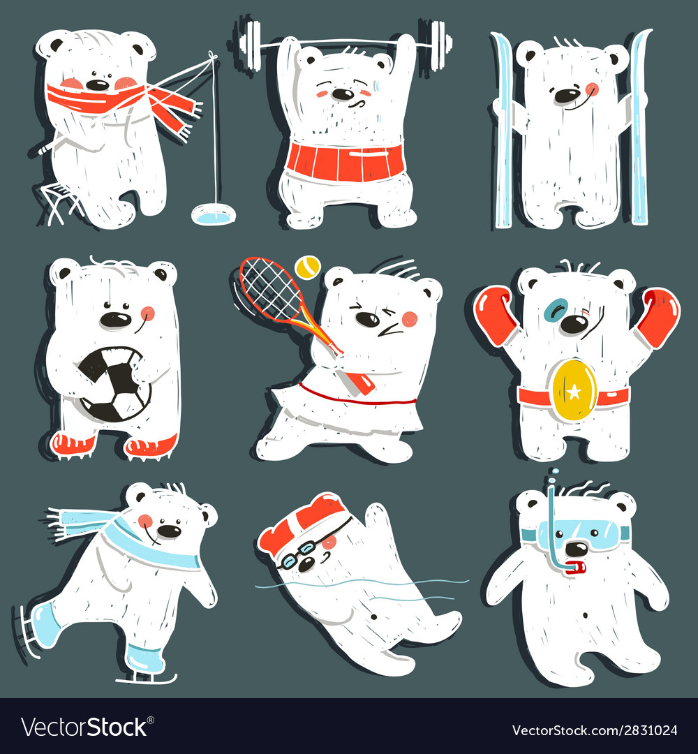 Cartoon sport bears in action collection vector | Price: 1 Credit (USD $1)