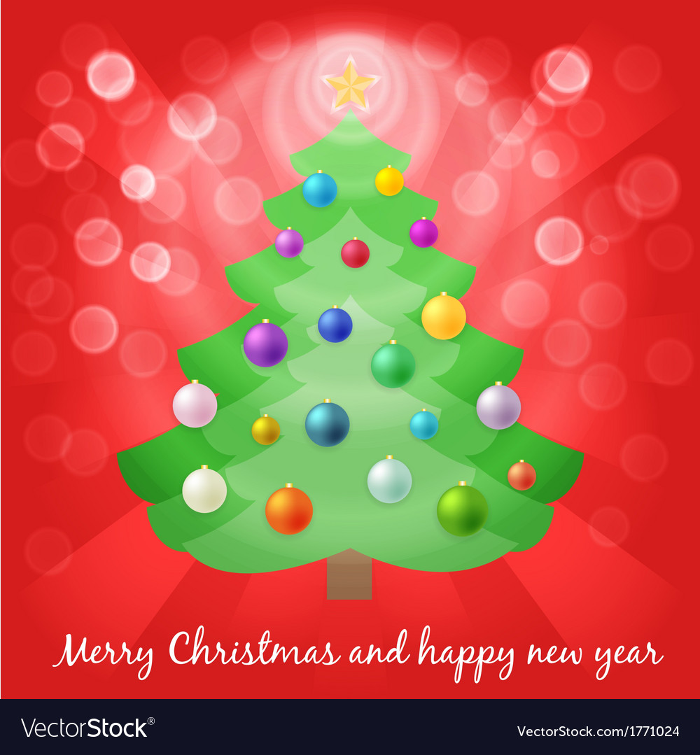 Christmas tree in lights vector | Price: 1 Credit (USD $1)
