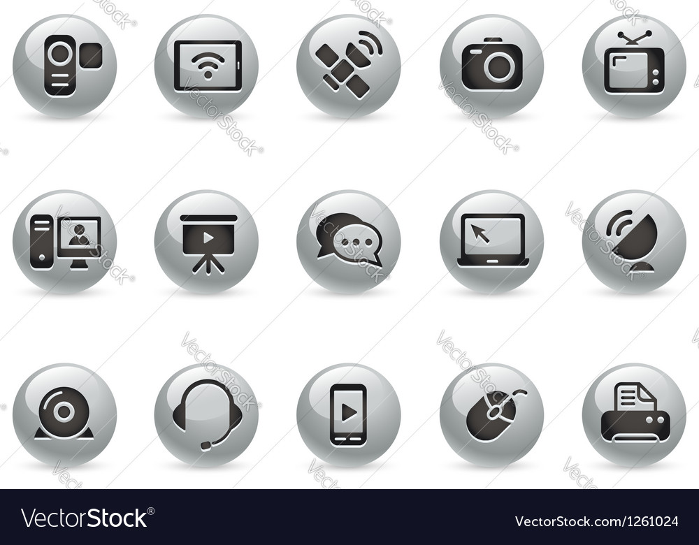Communication icons metalround series vector | Price: 1 Credit (USD $1)