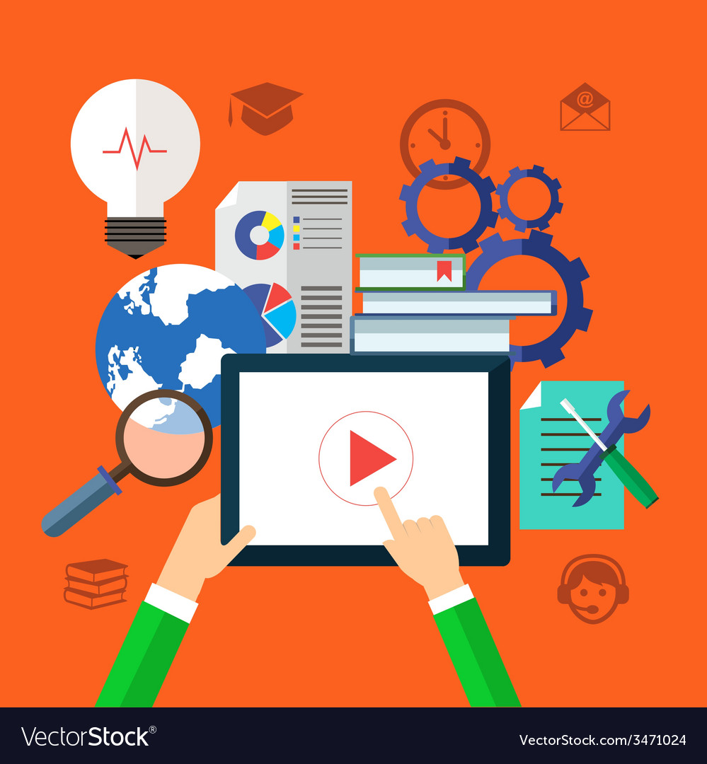 Ebook and tutorials for education concept vector | Price: 1 Credit (USD $1)