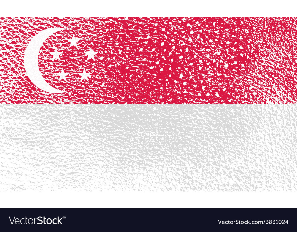 Flag republic of singapore with old texture vector | Price: 1 Credit (USD $1)