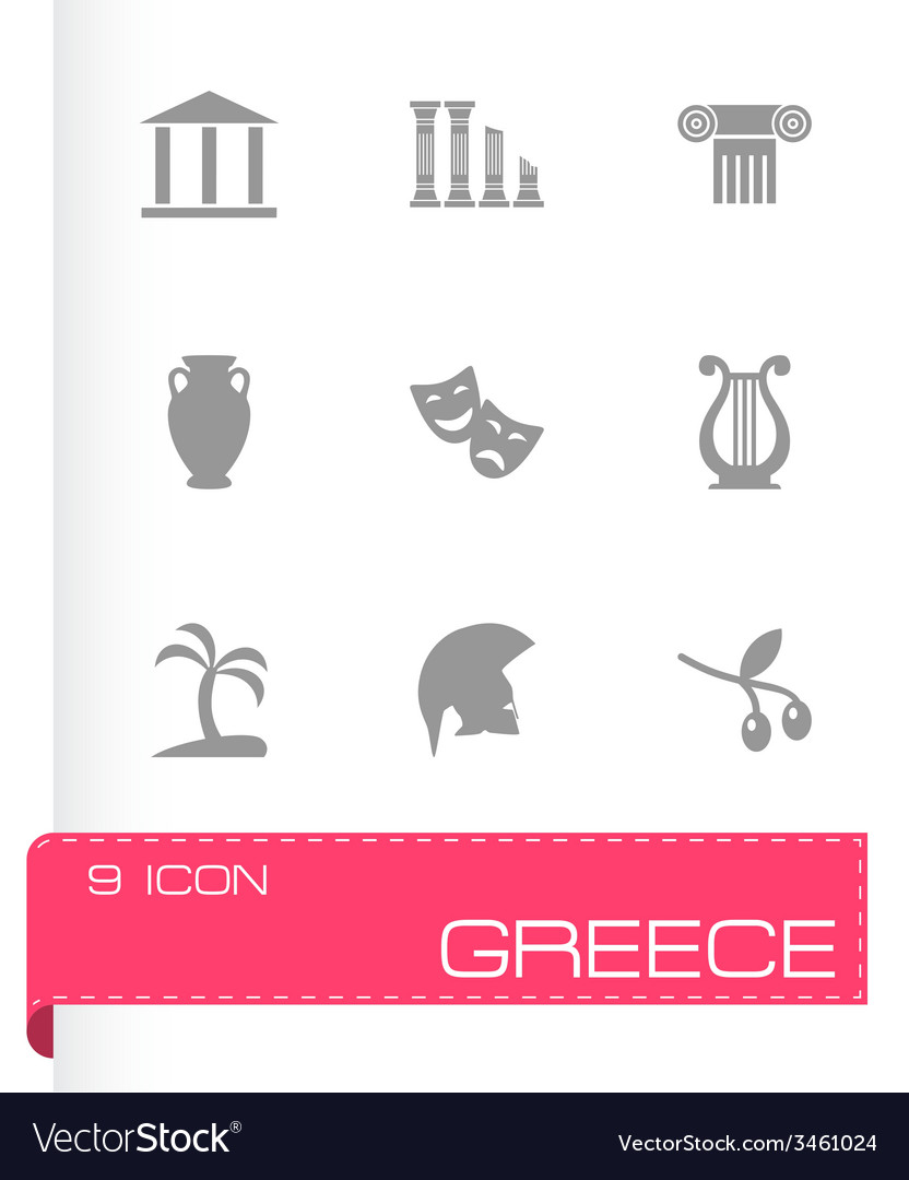 Greece icon set vector | Price: 1 Credit (USD $1)