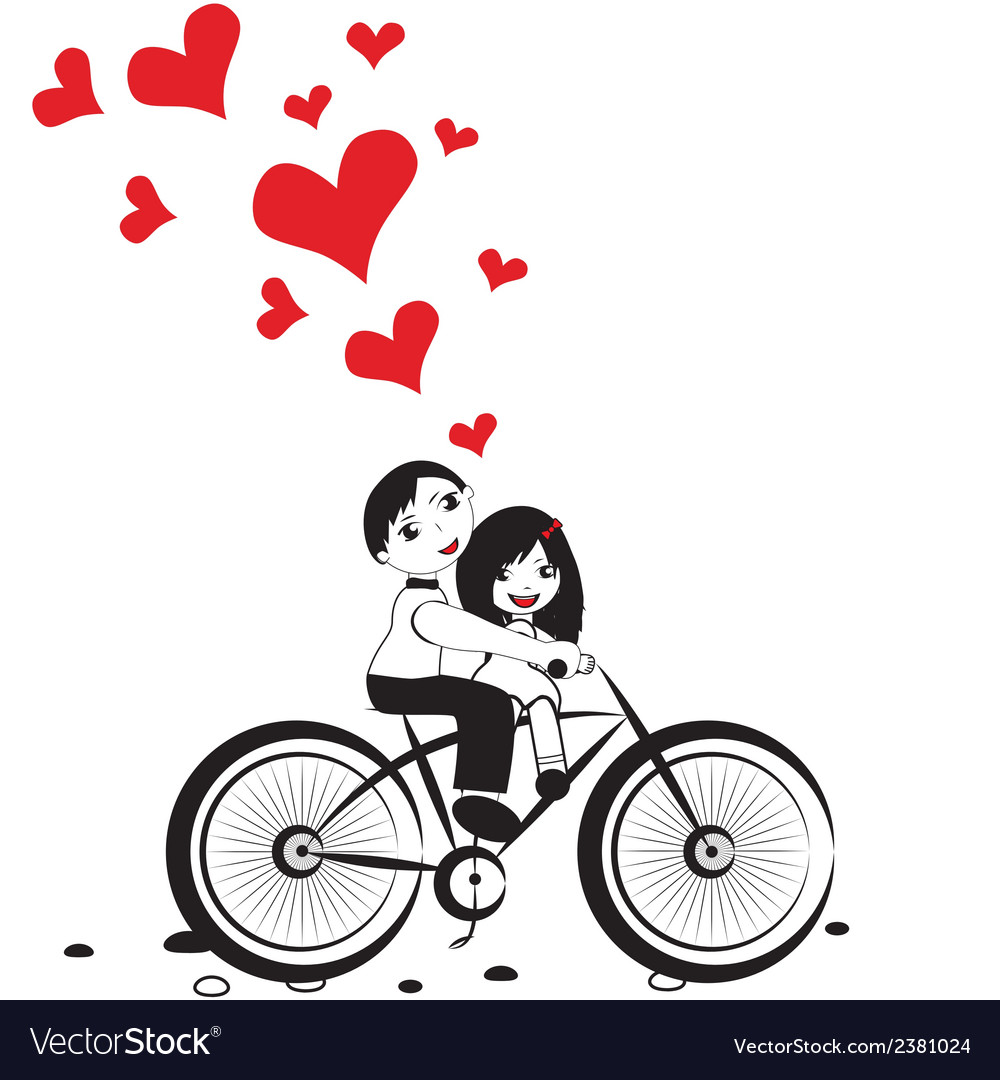 Happy man and woman in love on bicycle vector | Price: 1 Credit (USD $1)