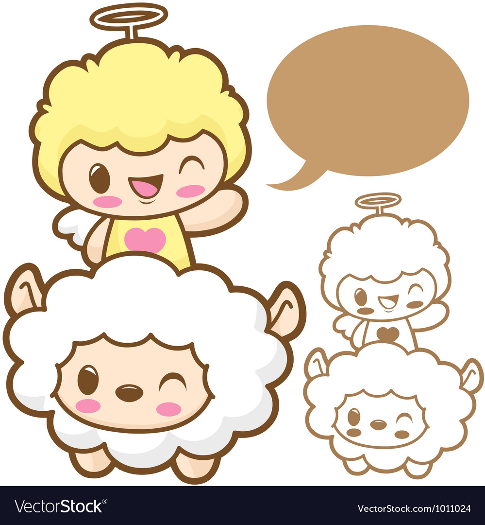 Playing cute little sheep angel sheep and angel ch vector | Price: 3 Credit (USD $3)