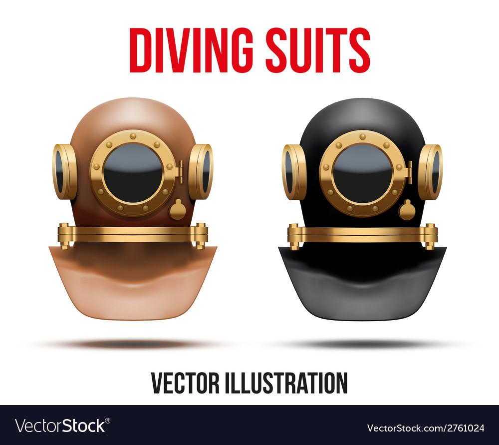 Set of underwater diving suit helmet vector | Price: 1 Credit (USD $1)