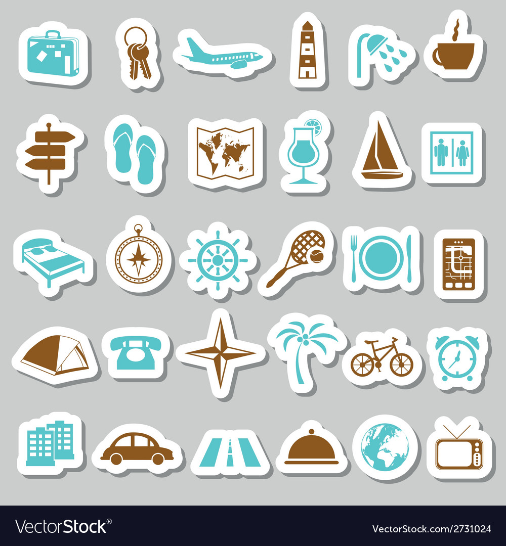 Travel and accommodation stickers vector | Price: 1 Credit (USD $1)