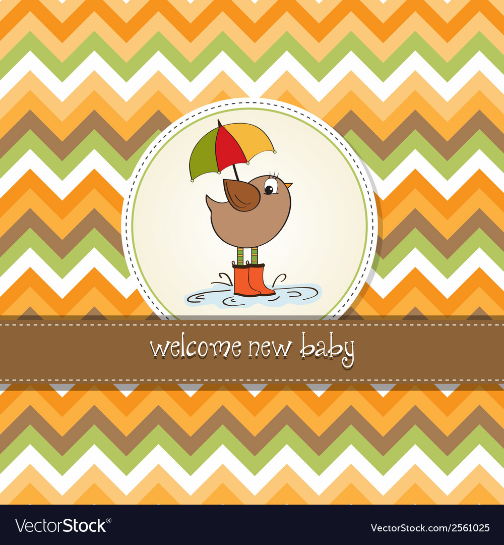 Baby shower card with little bird stand in the vector | Price: 1 Credit (USD $1)