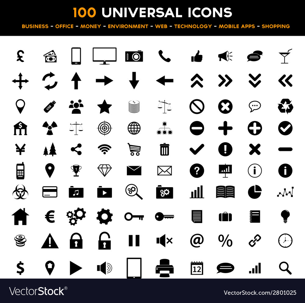 Big set of 100 universal black flat icons vector | Price: 1 Credit (USD $1)