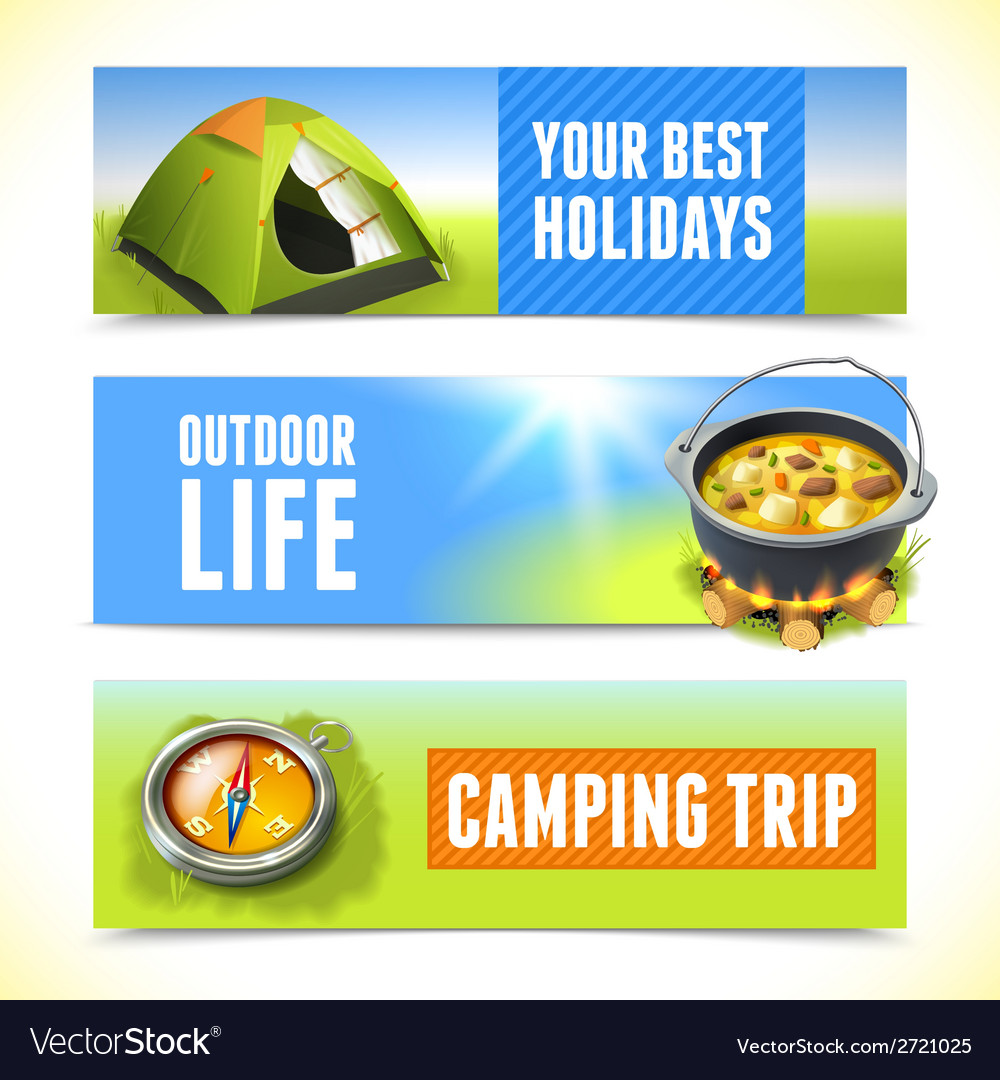 Camping horizontal banners vector | Price: 1 Credit (USD $1)