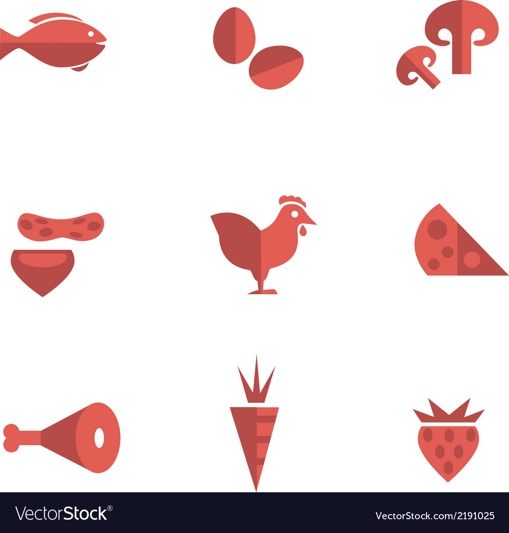 Food category flat icons vector | Price: 1 Credit (USD $1)