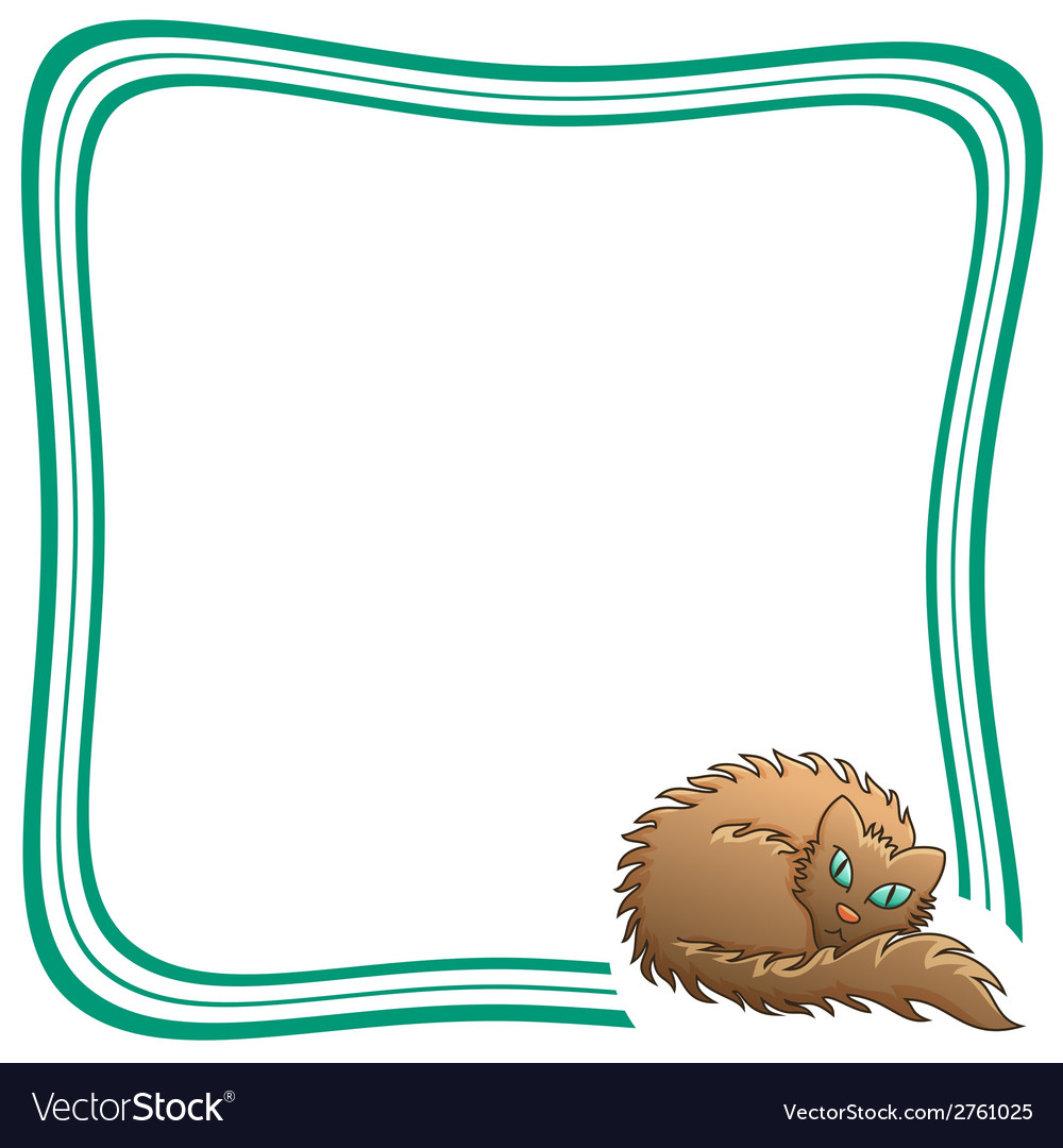 Frame with brown fluffy cat vector | Price: 1 Credit (USD $1)