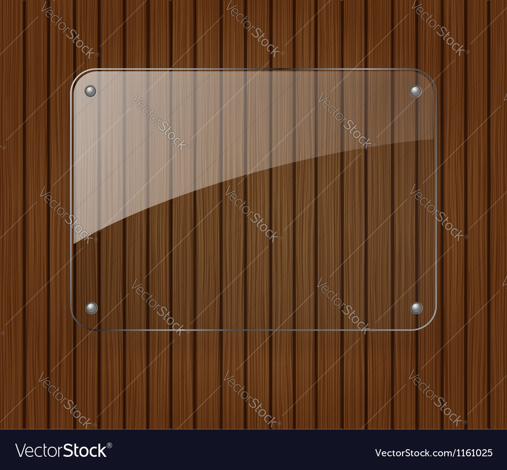 Glass banner on wooden background vector | Price: 1 Credit (USD $1)