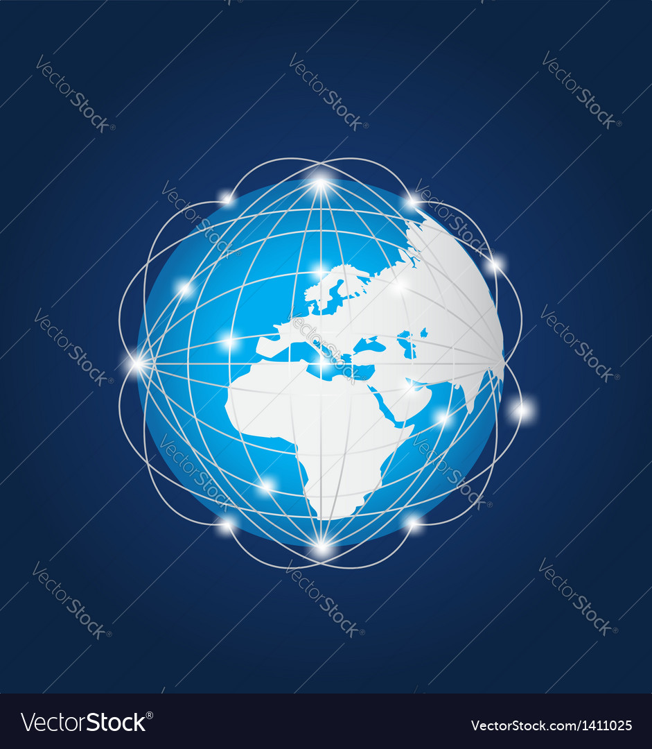Global network europe africa vector | Price: 1 Credit (USD $1)