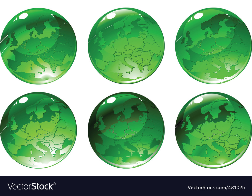 Green globe icons vector | Price: 1 Credit (USD $1)