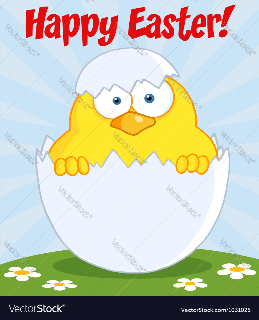 Happy easter chick in a shell on a hill vector | Price: 1 Credit (USD $1)