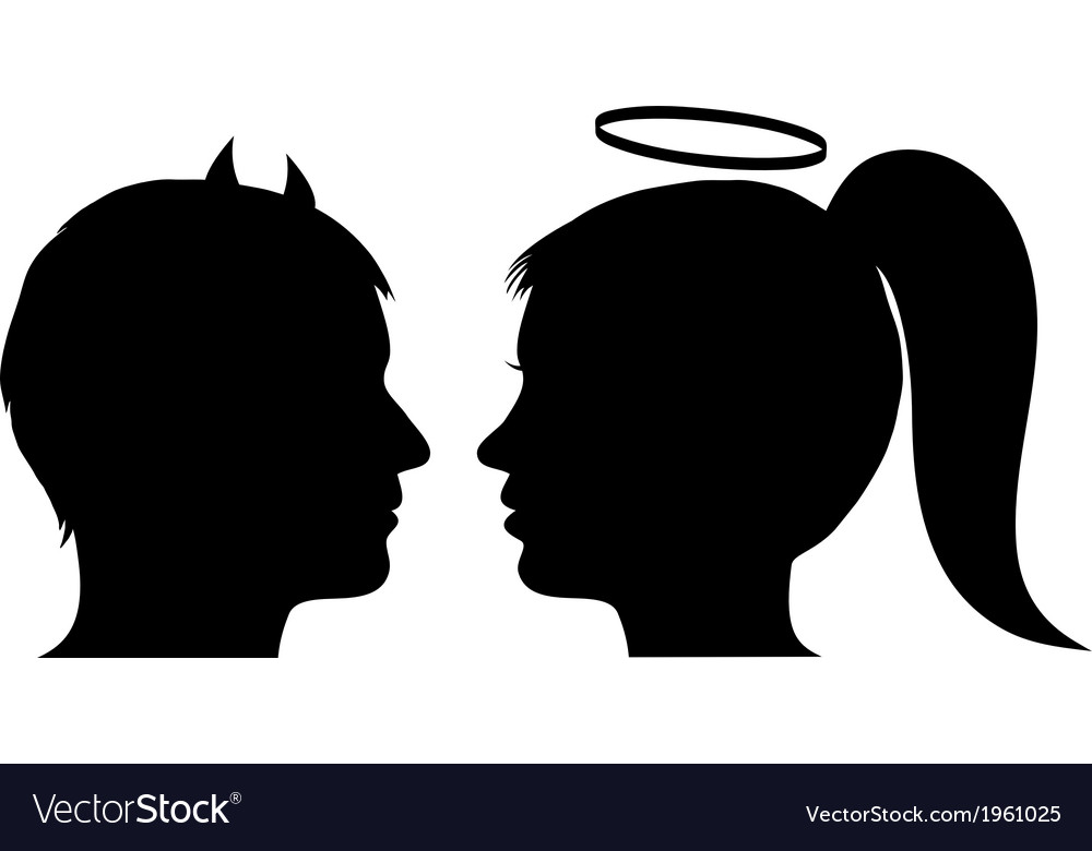 Male devil and female angel vector | Price: 1 Credit (USD $1)