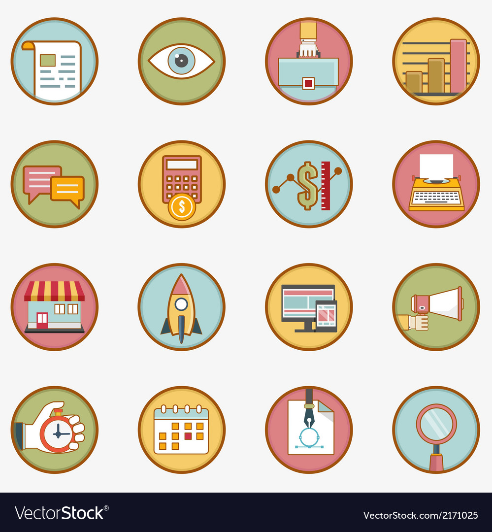 Set of retro business icons - part 1 vector | Price: 1 Credit (USD $1)