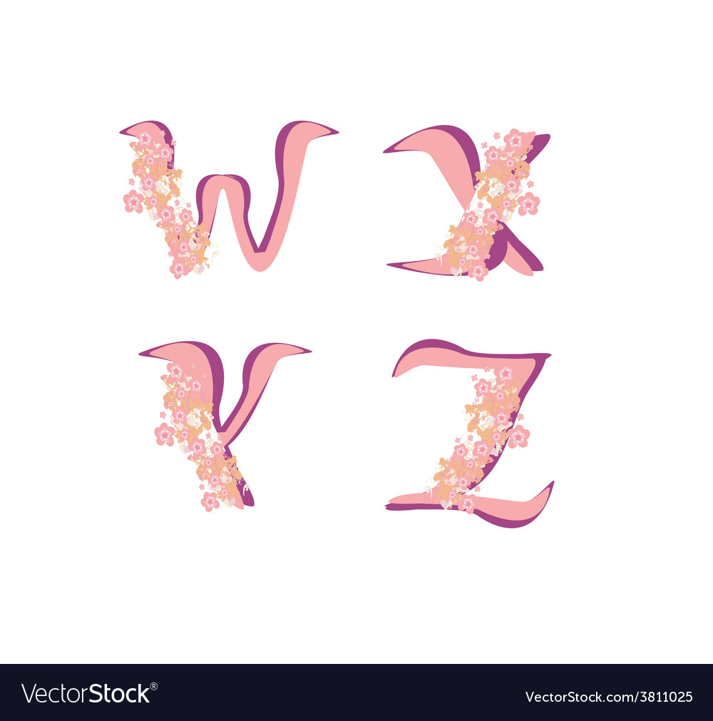 Spring alphabet with flowers letters wxyz vector | Price: 1 Credit (USD $1)