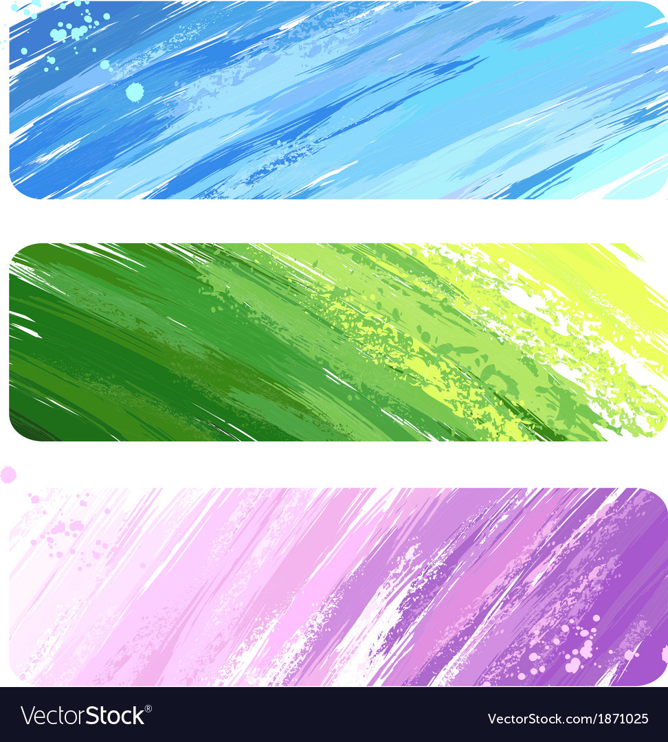 Three painted banner vector | Price: 1 Credit (USD $1)