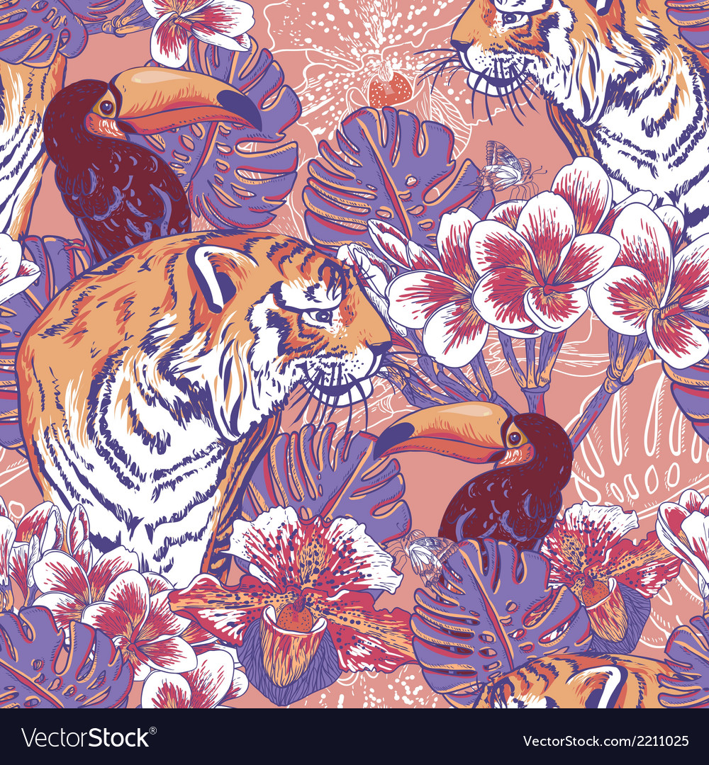 Tropical floral seamless background with tiger vector | Price: 1 Credit (USD $1)