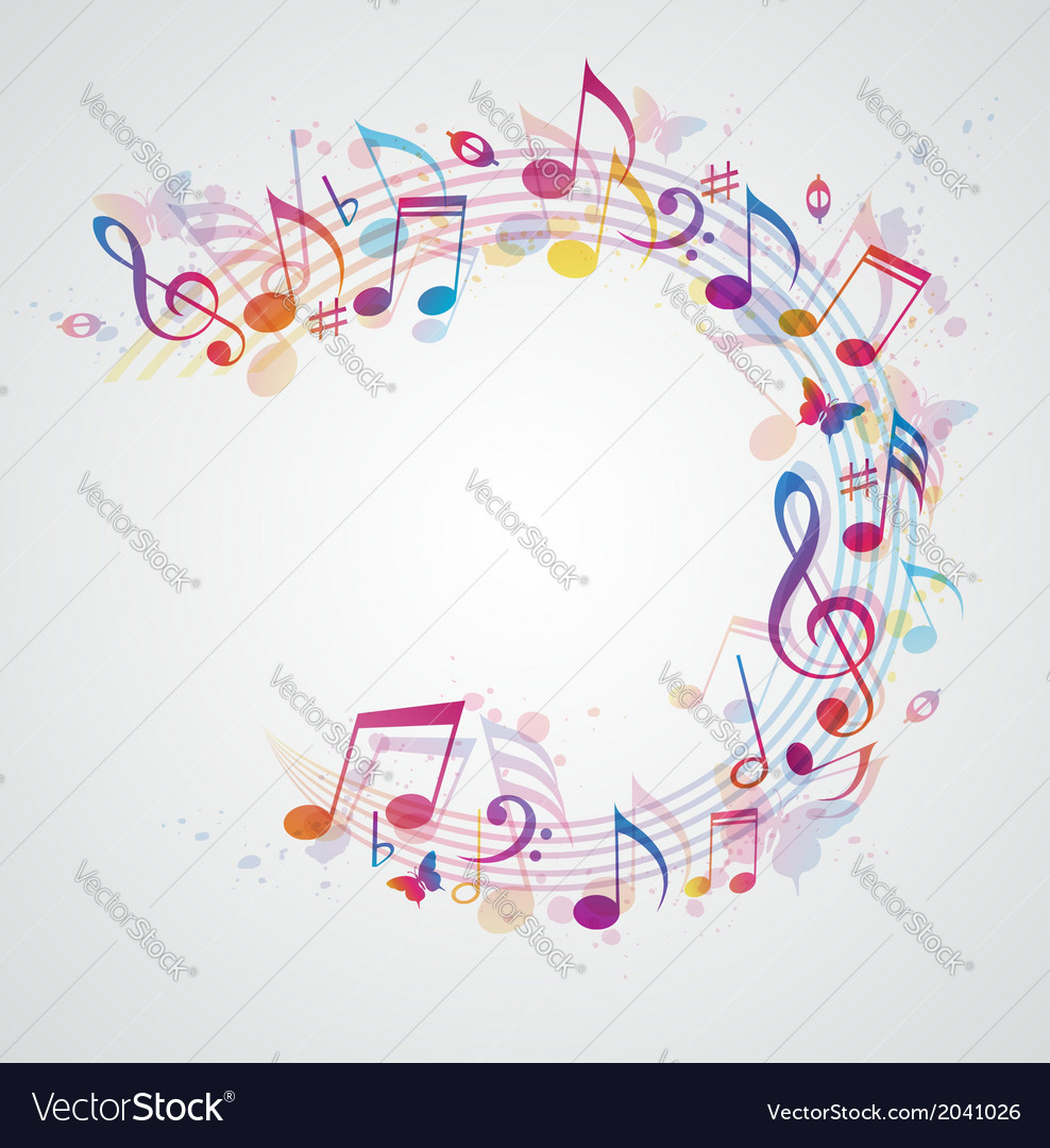 Abstract music background with notes vector | Price: 1 Credit (USD $1)