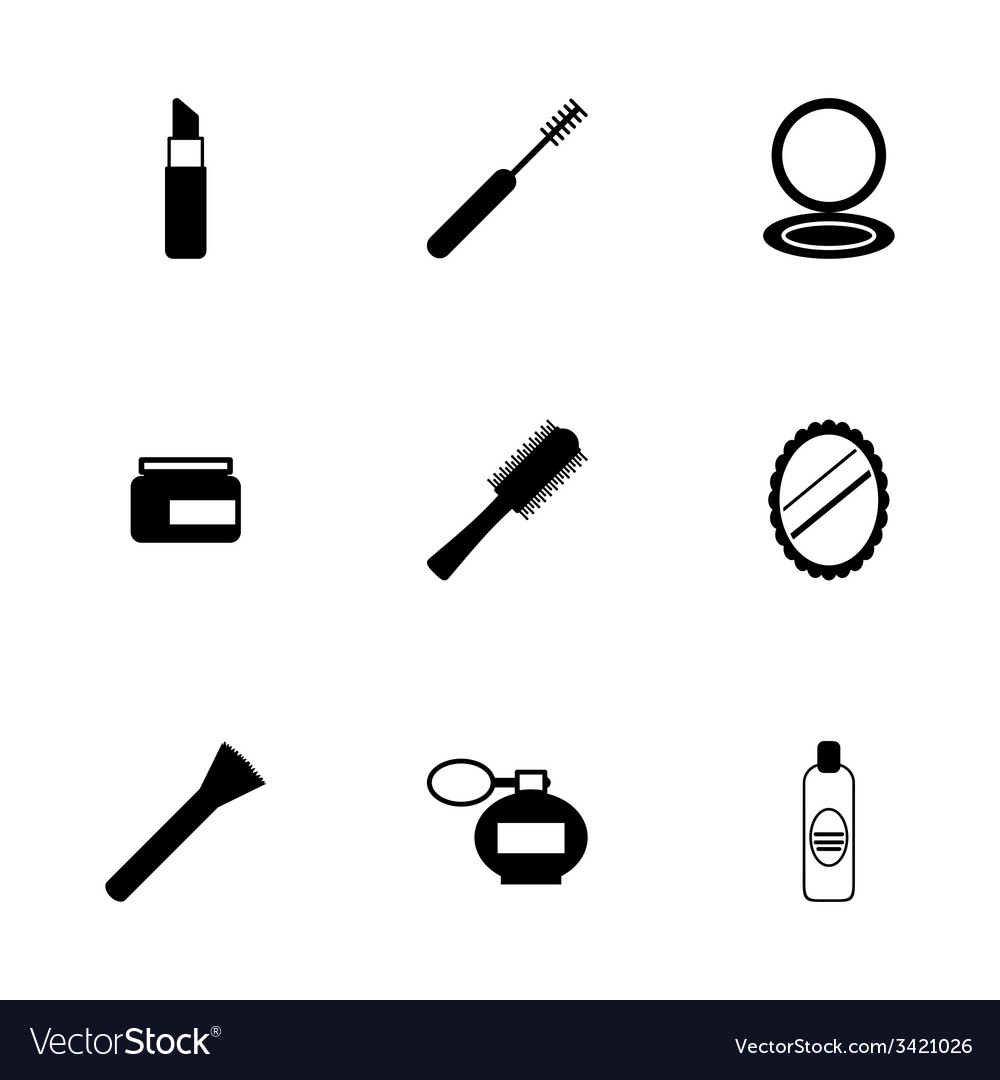 Black cosmetics eyes icons set vector | Price: 1 Credit (USD $1)