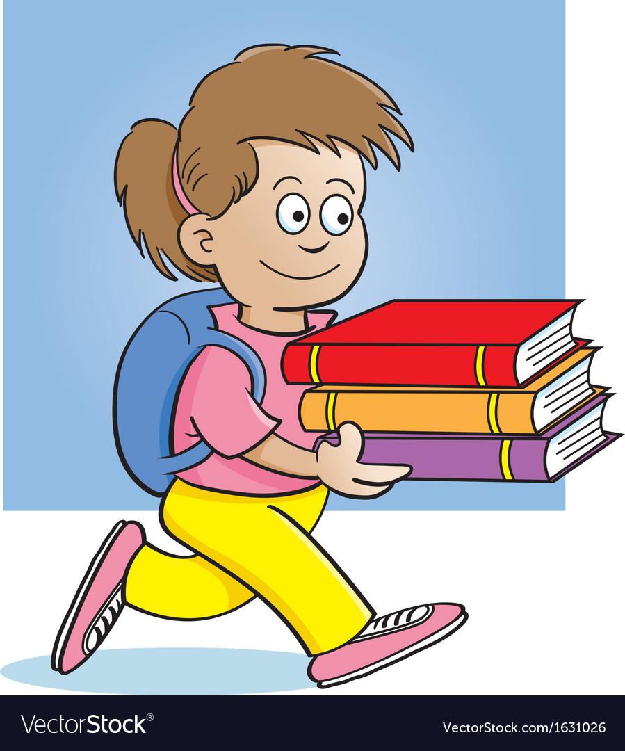 Cartoon girl carrying books vector | Price: 3 Credit (USD $3)