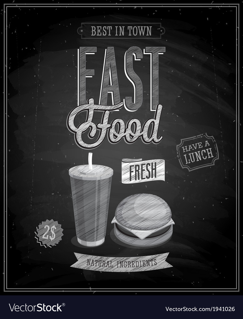 Fast food chalk vector | Price: 1 Credit (USD $1)