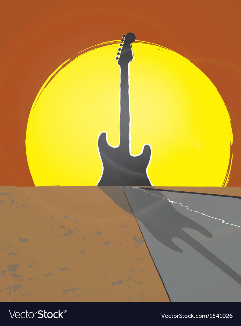 Guitar sunset vector | Price: 1 Credit (USD $1)