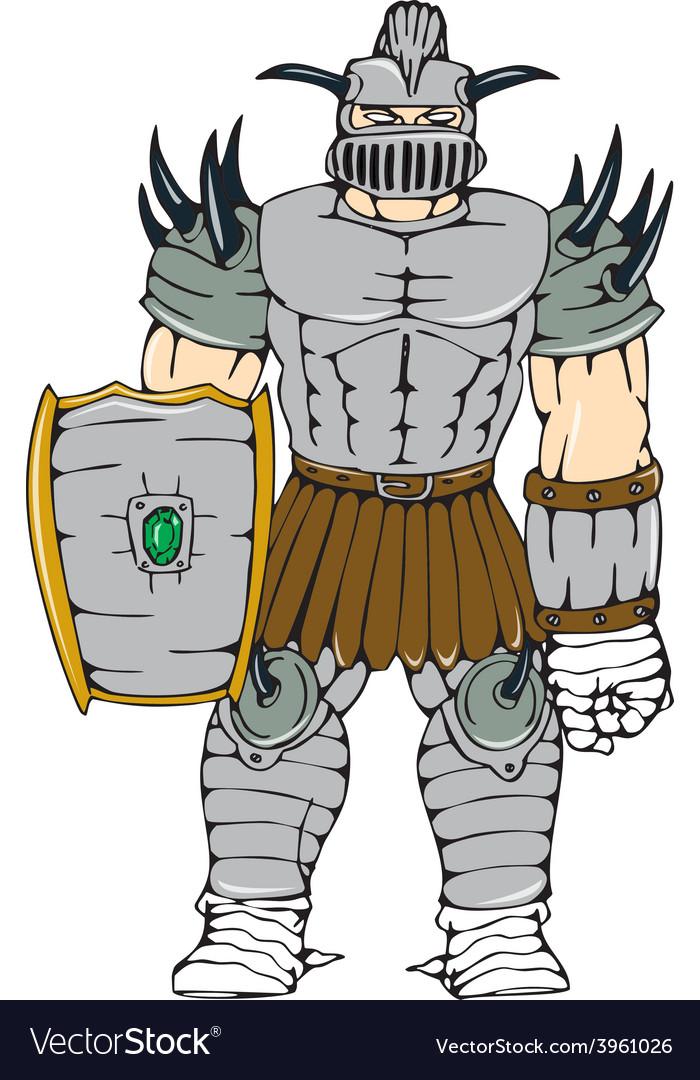 Horned knight full armor shield cartoon vector | Price: 1 Credit (USD $1)