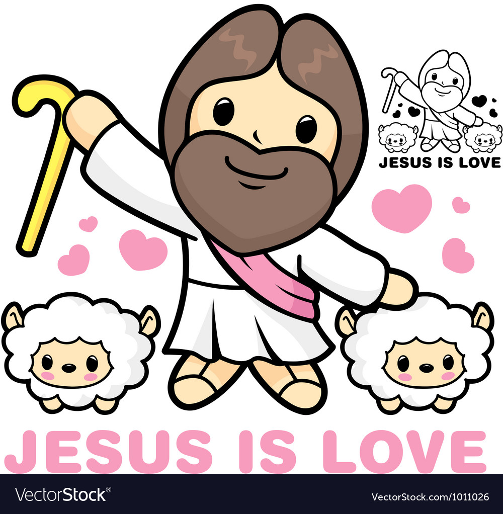 Jesus and sheep neck jesus and sheep character vector | Price: 3 Credit (USD $3)