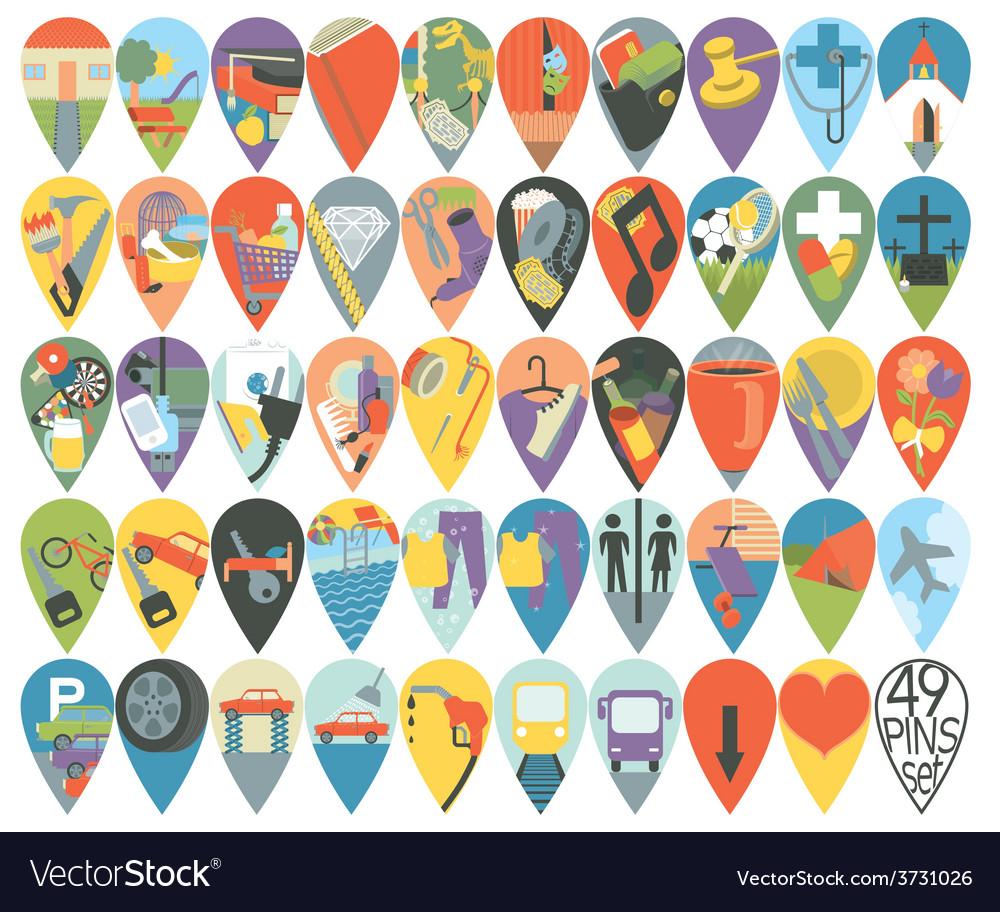 Mega set of map pins vector | Price: 1 Credit (USD $1)