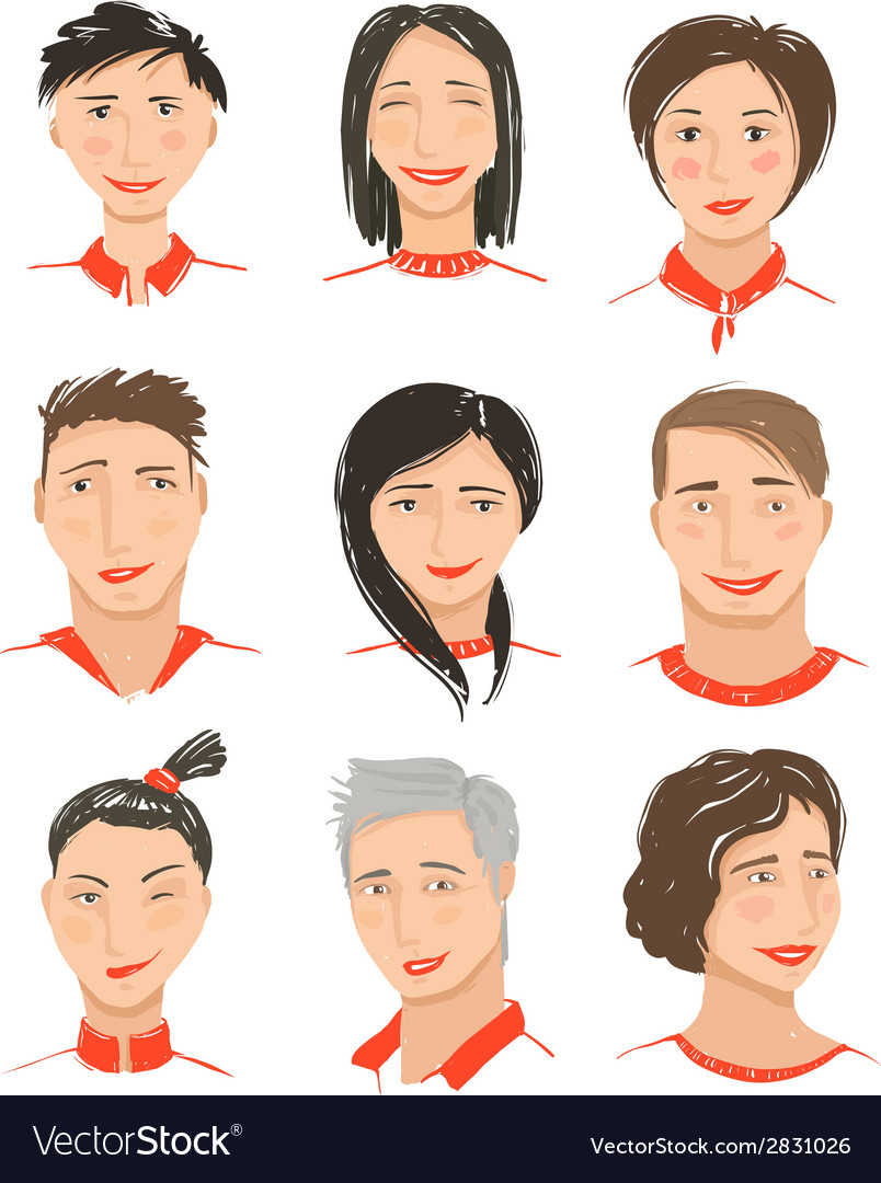 Men and women hand drawn face avatars set vector | Price: 1 Credit (USD $1)
