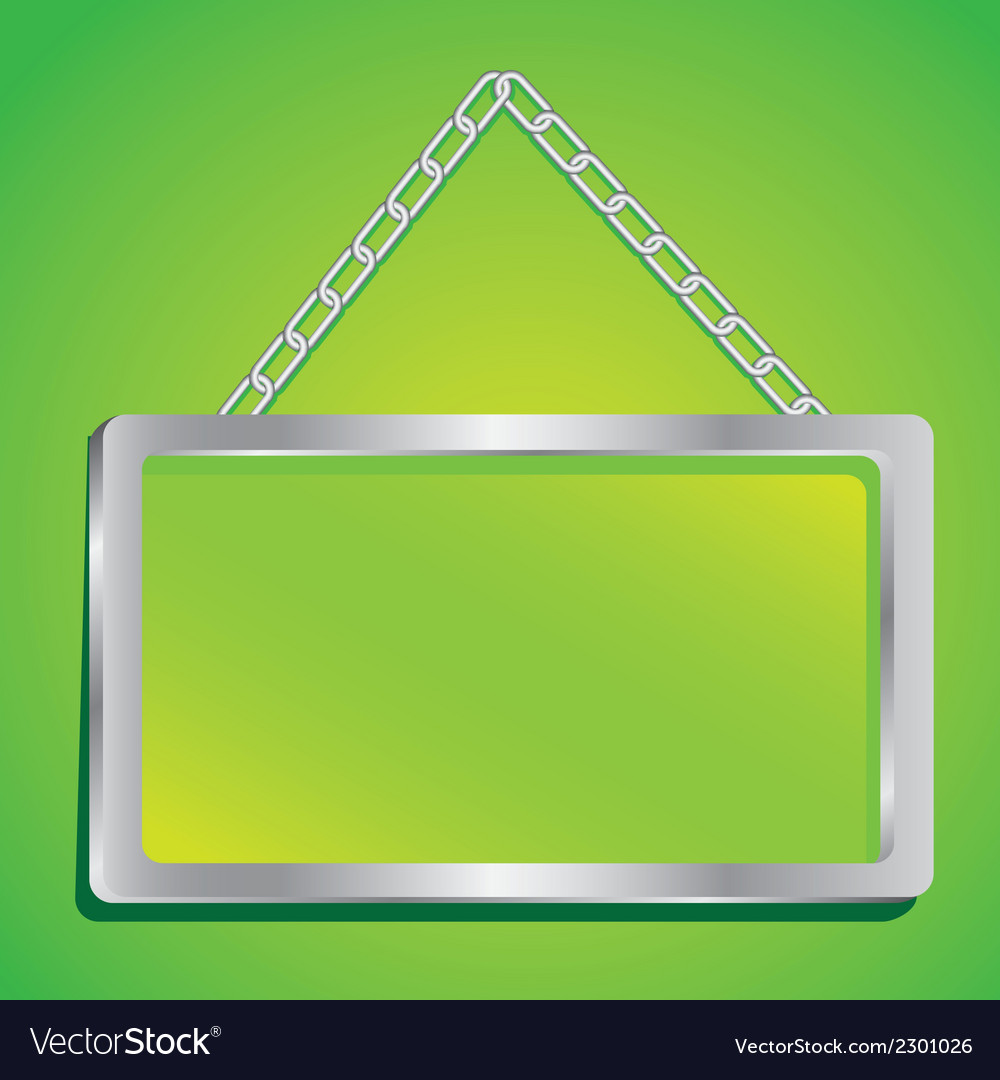 Metal frame with glass and chain on a green backgr vector | Price: 1 Credit (USD $1)