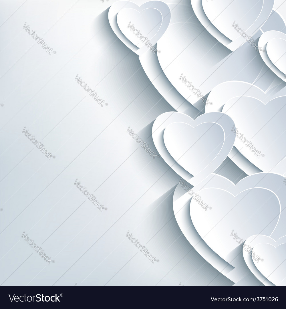 Modern background grey with paper 3d hearts vector   Price: 1 Credit (USD $1)