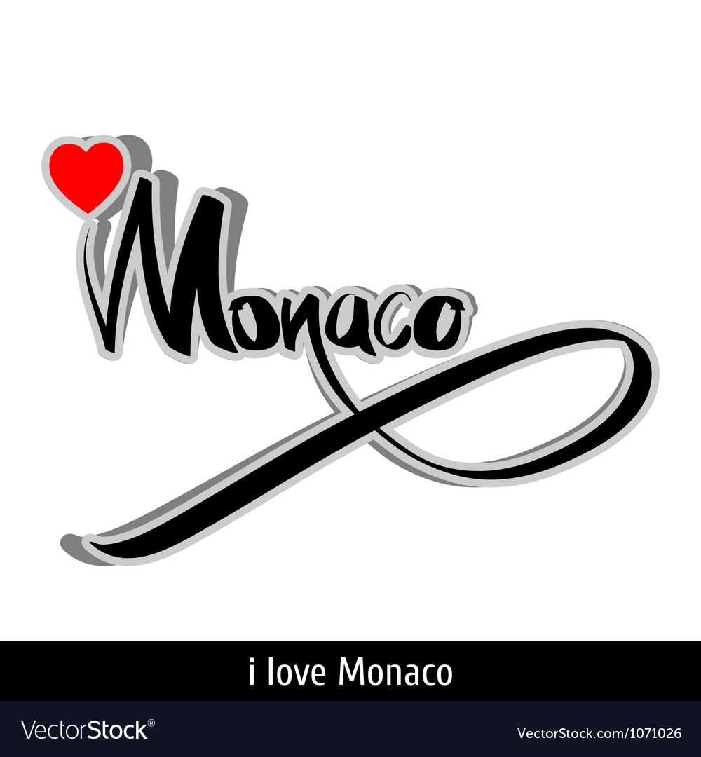 Monaco greetings hand lettering calligraphy vector | Price: 1 Credit (USD $1)
